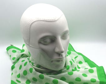Vintage Green Polkadot Scarf, Vintage Accessory, Vintage Fashion, Scarf made in Italy