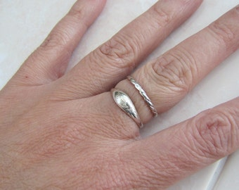 Twist Sterling Silver ring and Etched sterling silver ring, two ring set, size 7, Sale