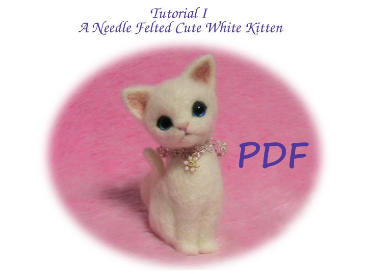 Handmade Needle felted felting project animal cute cat kitten felted