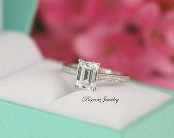 Emerald Cut Engagement Ring - Solitaire Ring - Prong set engagement Ring - Silver Engagement Ring