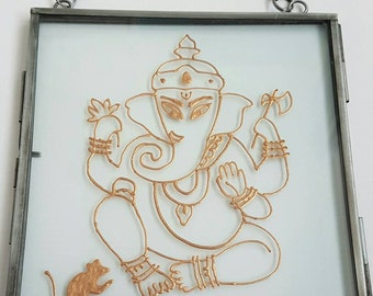 Ganesh floating glass wall hanging. Handpainted gold bronze. Stained glass. Framed art. Elephant Hindu God. One of a kind piece.