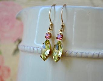 Jonquil Dangle Earrings, Pale Yellow Earrings, Gold Filled Jewelry, Vintage Swarovski Drop Earrings, Vintage Style Glass Earrings, Wife Gift