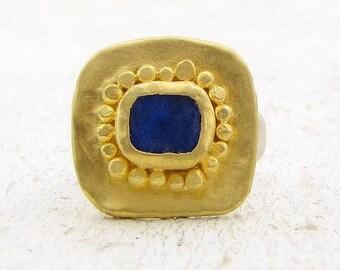 Lapis Lazuli Gold Ring , 24k Solid Gold Ring ,  Statement Gold Ring , Gold & Silver Ring , Cocktail Ring - Handmade Lapis Ring