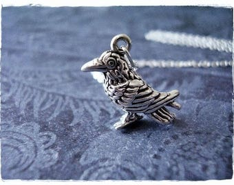 Large Raven Necklace - Sterling Silver Raven Charm on a Delicate Sterling Silver Cable Chain or Charm Only