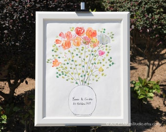 Hand-Painted Watercolour Guest Book - Original Art Guestbook - Custom Fingerprint Guestbook Flowers in Milk Bottle - Free Gift with Purchase