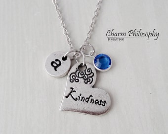 Kindness Necklace - Sideways Heart Charm - Antique Silver Jewelry - Monogram Personalized Initial and Birthstone
