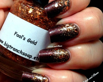"Nail Polish - ""Fool's Gold"" - Free U.S. Shipping - Holographic Copper Brown Glitter -  Hand Blended - 0.5 oz Full Sized Bottle"