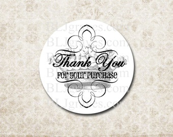 Custom Sticker Thank You For Your Purchase Business Packaging Stickers French Crown SP014