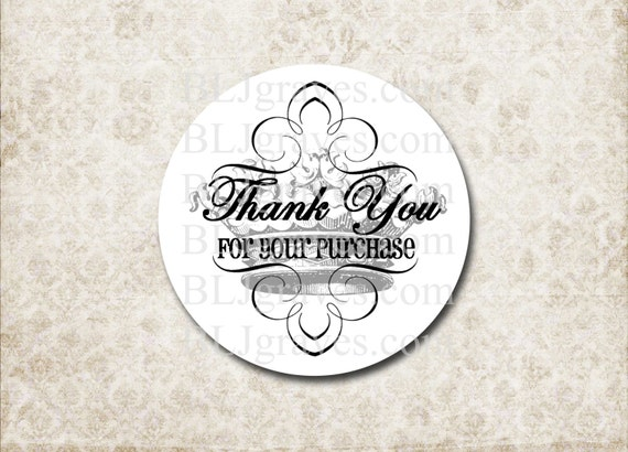 Custom sticker thank you for your purchase business packaging stickers french crown sp014 from bljgraves on etsy studio