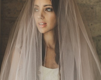 Ombre Hand Dyed Blush Pink Bridal Veil ( Cathedral, Blusher, Double Tier, Elbow, Finger Tip ) by Cleo and Clementine