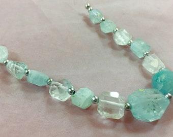 1 Strand Aquamarine Beaded Necklace @MK40
