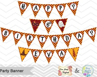 Printable Party Banner, Digital Birthday Party Banner, Instant Download Harry Potter Birthday Party Bunting, Digital Banner 0061