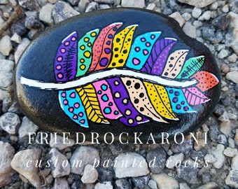 Hand painted feather rock