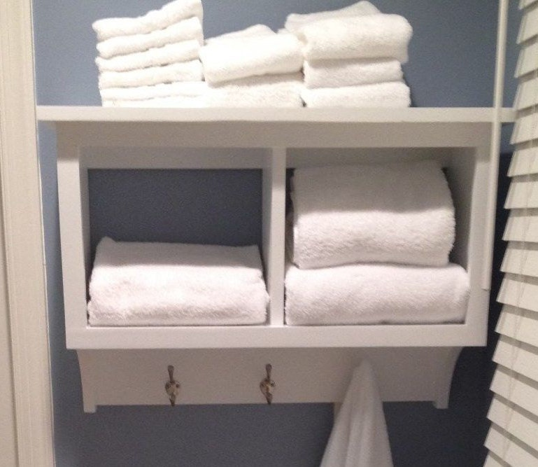 White Wood Bathroom Shelf With Towel Bar. awesome kitchen inspiring ...
