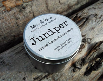 Handmade in Scotland Juniper Floral Scented Soy Wax Tin Candle 30+ hour burn