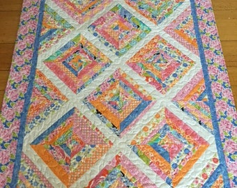 Happy Spring String Quilt, Quilts for Sale, Handmade Quilt, Girls Quilt, Birthday Quilt, Teens Quilt, Housewarming Quilt, Girls Quilt