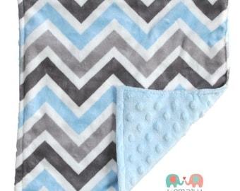 Grey Blue Multi Chevron Double Minky Baby Lovey Blanket, Custom Made, Baby Shower Gift, Baby Blanket, Newborn Baby Lovey, Stroller Blanket