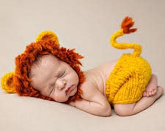 Newborn Baby Girls Boys Costume Photography Prop Outfit Crochet Lion Hat and Diaper Cover Set /Baby Lion Set/Crochet Lion Set