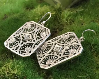Vintage Locket Case Sterling Silver Earrings with CZ and Floral Filigree Details Possibly Victorian Era PiecesByHartShop