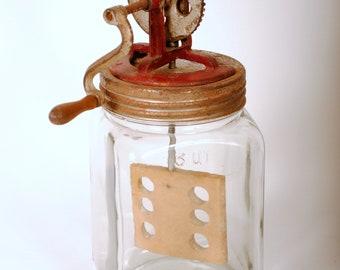 Antique Glass Butter Churn
