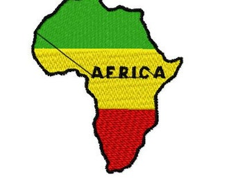 African Map Embroidery Design, Instant Download, 4x4 Hoop, 9 Formats