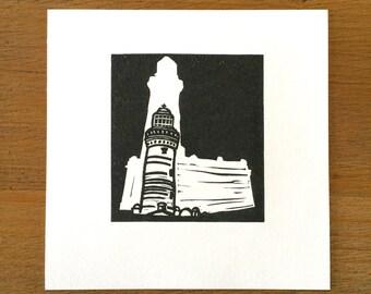 Lighthouse Block Print. Norah Head, NSW, Australia. Makeforgood.