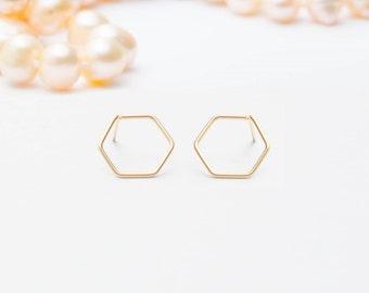 MOTHER DAY SALE - Hexagon Earrings Studs -  Open Hexagon Studs earrings -  Geometric earrings - Hex stud earrings