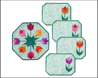 Spring Tulips Table Topper & Placemats PDF Quilt Pattern