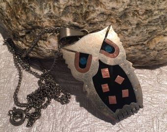 Alpaca Mexico sterling Owl with Inlay Necklace