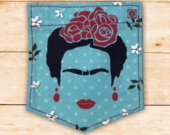 Frida Kahlo Margaritas Stick-on Pocket Patches - Patches for T shirts