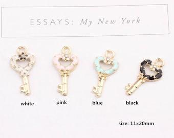 10PCS, 11x20mm, Key Charm, Enamel Charm, Bracelet Charm, Craft Supplies, Gold Tone