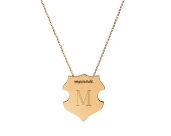 14k gold engraved shield necklace