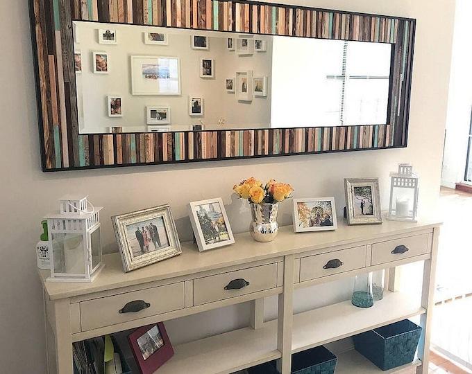 "Rustic Reclaimed Wood Mirror - 70""x25"" - Leaner Mirror - Floor Mirror - ""Reclaimed Reflection""- Modern Wood Wall Art- Reclaimed Wood Art"