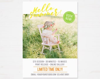 Mini Session Template - Photography Marketing Templates - Marketing Board - Photoshop Templates - Summer Minis - 5X7 inch - INSTANT DOWNLOAD