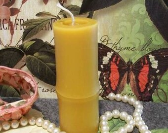 Beeswax Bamboo Pillar Candle Small
