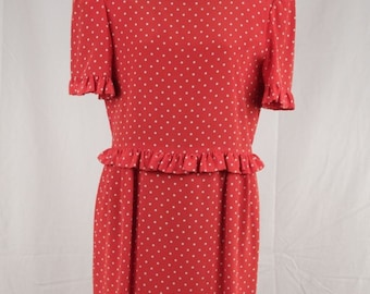Authentic VINTAGE Red POLKA DOT Silky midi dress shorts sleeves size 8