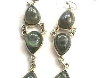 Silver & Labradorite Triple Drop (JS-E-025)