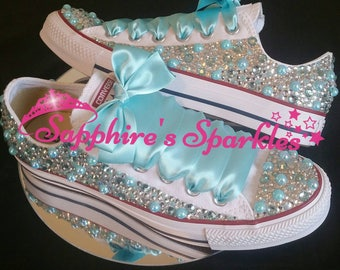 Blue Wedding Converse Completely Covered Crystals Bling Customised Tiffany BlueBride Converse Prom Converse Wedding Shoes Bride Shoes