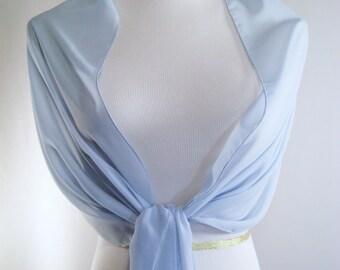 Evening Wrap - Ice Blue - Shawl Scarf - Stole - One Shoulder Drape - Ice Blue Chiffon - Pashmina - Dressy Wrap - Extra Long