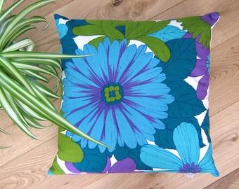 Vintage 60s Pillow Fabric Flower Power Cushion - Sixties Dekoplus Blue