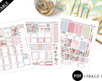 Floral Summer Planner Printable Stickers for Erin Condren and A5 planners