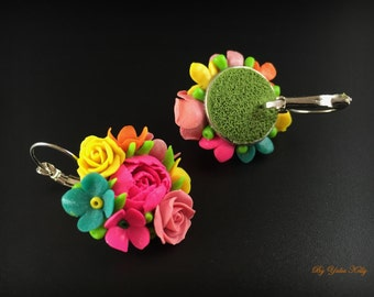 Colorful earrings, Polymer clay jewelry, Colorful jewelry, Rainbow Jewelry, Rainbow earrings, Flower earrings, Handmade earrings