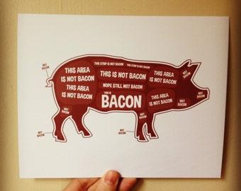 Pig Butcher Diagram, Butcher Chart - Kitchen Sign, Kitchen Print, Kitchen Art, Bacon Print, Bacon Sign, Bacon