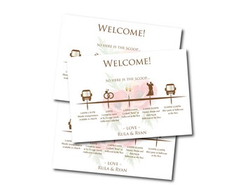 Welcome Card - Wedding Hotel Itinerary - Poppy Flowers - Poppies