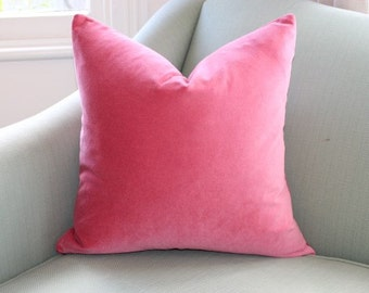 Coral Velvet Pillow Cover.