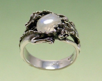 Double Dragon Ring with 8x10 Rainbow Moonstone