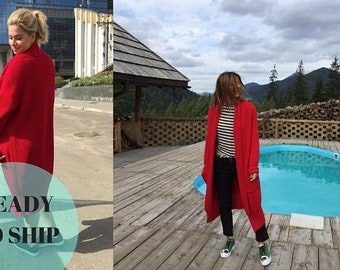 Red gift for wife knit sweater cardigan oversized coat jacket long cardigan women boho girlfriend gift open front clothing chunky knit coat