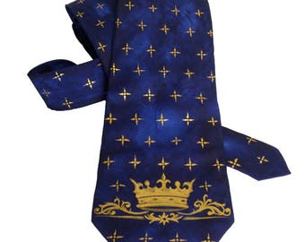 Men's Tie / Valentines Day Gift / Groomsmen Necktie / Art Necktie/ Pained Necktie/ Styling Necktie/ Artwork Royal Crown