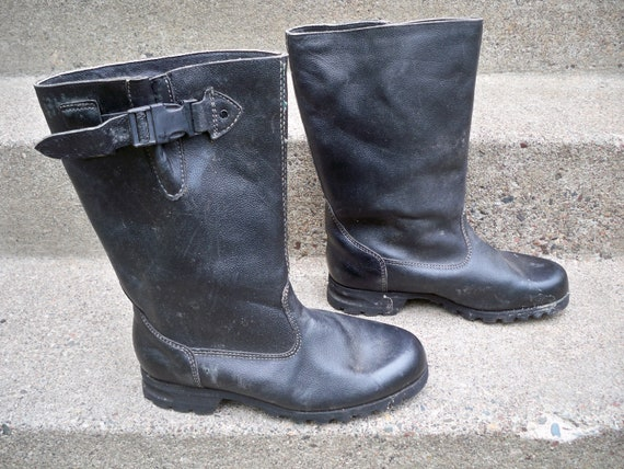 Wool Vintage 9 UK Leather Black 10 Work Chopper Size Boots Lined Toe 5 Motorcycle US 5 Engineer Riding Soft RARE atAd6t