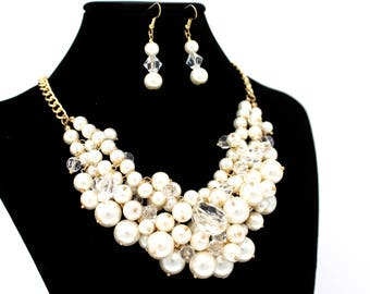 Bridal Statement Necklace, Pearl Bridal Necklace Set, Ivory Pearl Wedding Necklace Set, Cream Pearl Evening Necklace Set ~ E 135